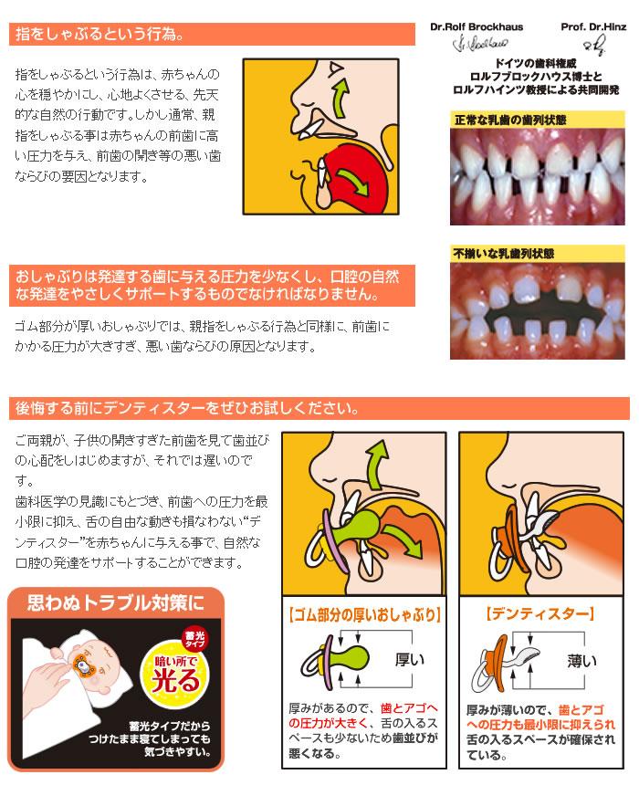 """「指をしゃぶるという行為。」指をしゃぶるという行為は、赤ちゃんの心を穏やかにし、心地よくさせる、先天的な自然の行動です。しかし通常、親指をしゃぶる事は赤ちゃんの前歯に高い圧力を与え、前歯の開き等の悪い歯ならびの要因となります。「おしゃぶりは発達する歯に与える圧力を少なくし、口腔の自然な発達をやさしくサポートするものでなければなりません。」ゴム部分が厚いおしゃぶりでは、親指をしゃぶる行為と同様に、前歯にかかる圧力が大きすぎ、悪い歯ならびの原因となります。「後悔する前にデンティスターをぜひお試しください。」ご両親が、子供の開きすぎた前歯を見て歯並びの心配をしはじめますが、それでは遅いのです。歯科医学の見識にもとづき、前歯への圧力を最小限に抑え、舌の自由な動きも損なわない""""デンティスター""""を赤ちゃんに与える事で、自然な口腔の発達をサポートすることができます。"""