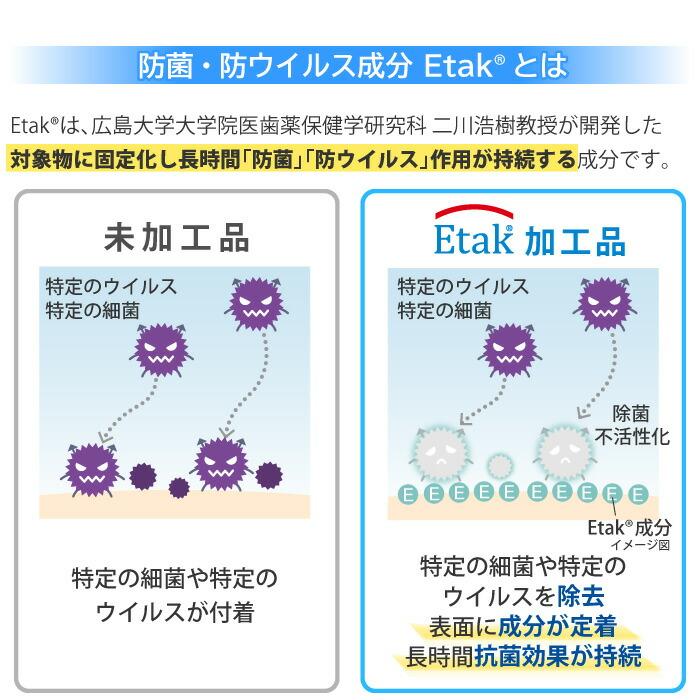 Etakは、広島大学大学院医歯薬保健学研究科 二川浩樹教授が開発した対象物に固定化し長時間「防菌」「防ウイルス」作用が持続する成分です