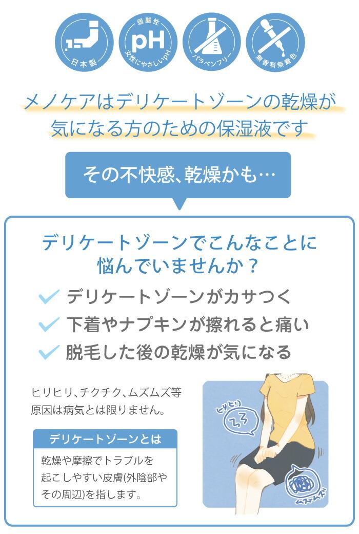 メノケアはデリケートゾーンの乾燥が 気になる方のための保湿液です
