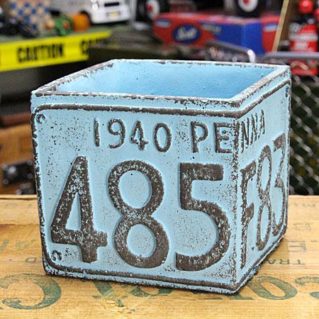 プランター(鉢) アメリカンアンティーク ナンバープレート ブルー サイズS