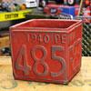プランター(鉢) アメリカンアンティーク ナンバープレート レッド サイズS