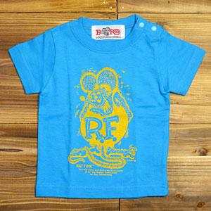 ラットフィンクベビーTシャツ/スタンディングラットフィンク/ターコイズ