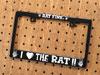 ラットフィンク(RATFINK) ナンバープレートフレーム(ライセンスフレーム) バイク用 ブラック I LOVE THE RAT!!