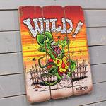 ラットフィンク ポスター サインボード アンティーク調 木製 RatFink WILD