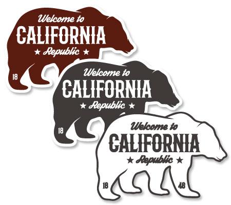 ステッカー Welcome to California Decal グリズリー サイズM