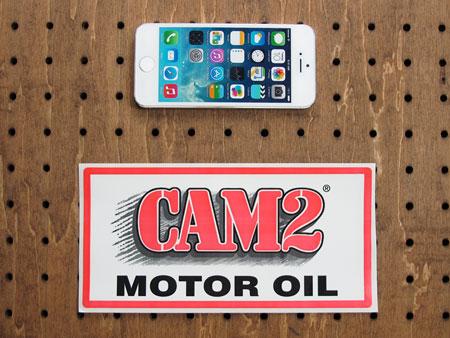 アメリカンオイルブランドステッカー CAM2 MOTOR OILの大きさ