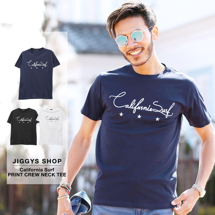 CaliforniaSurfプリントクルーネックTシャツ