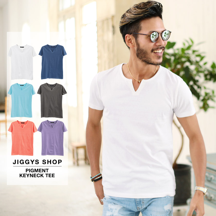 ピグメントキーネックTシャツ