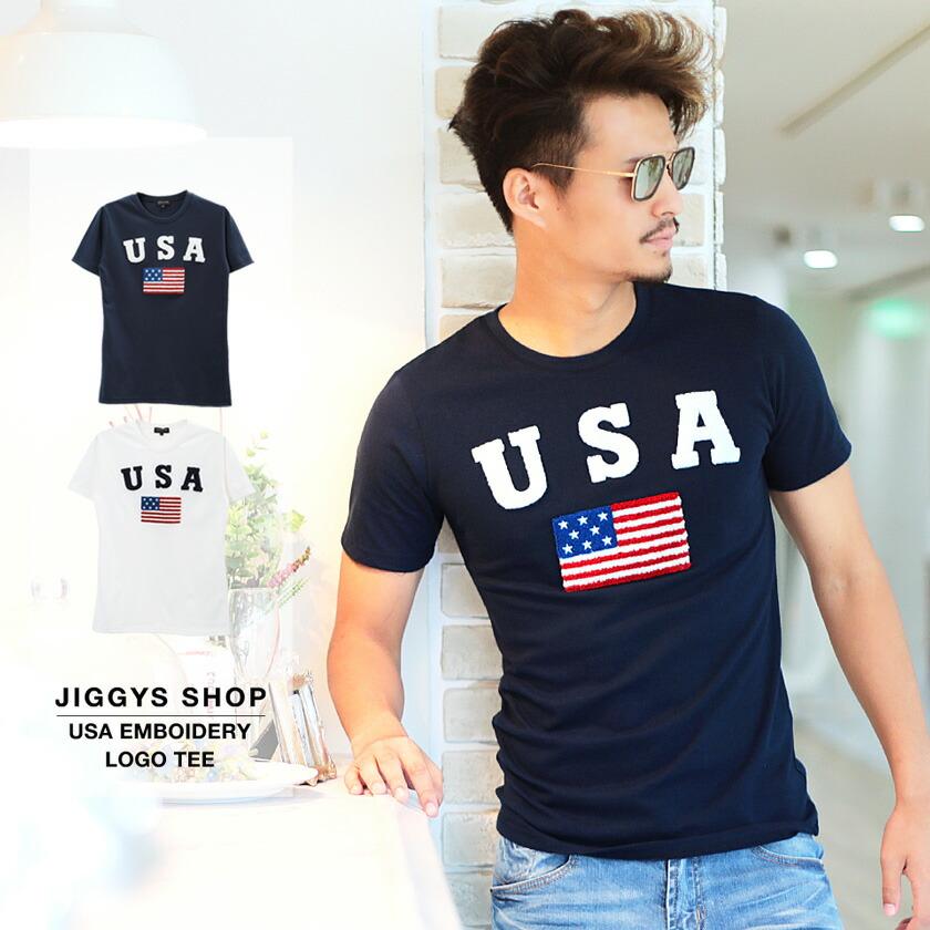 USA刺繍ロゴTシャツ