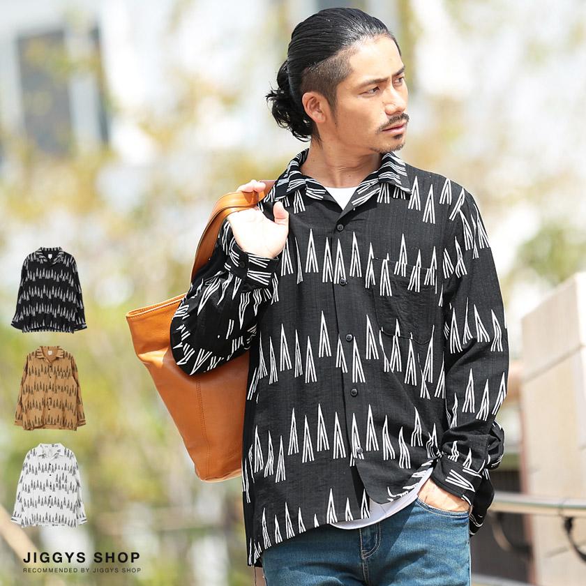 トライアングルパターン長袖シャツ