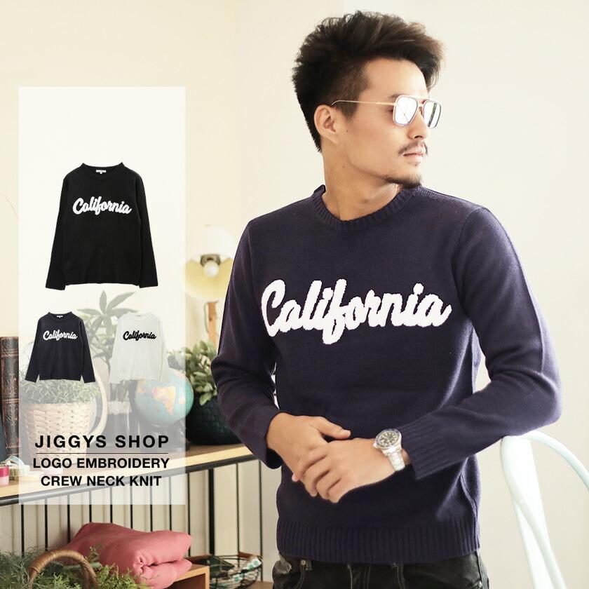 「CALIFORNIA」サガラロゴ刺繍クルーニット