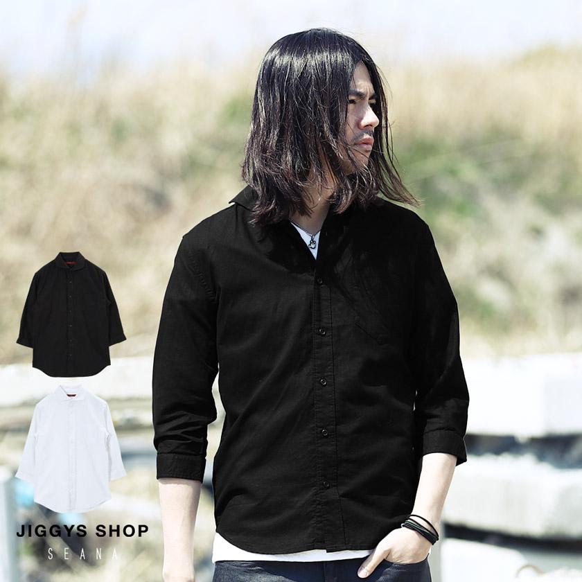 SEANA(シーナ)綿麻ホリゾンタルカラー7分袖シャツ