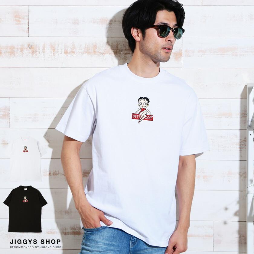 BETTYBOOP刺繍クルーネック半袖Tシャツ