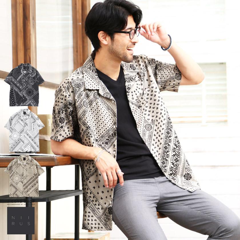 NIIRUS(ニールス)バティックプリントオープンカラーシャツ