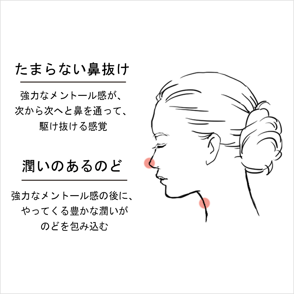 たまらない鼻抜け 強力なメントール感が、次から次へと鼻を通って、駆け抜ける感覚 潤いのあるのど 強力なメントール感の後に、やってくる豊かな潤いがのどを包み込む