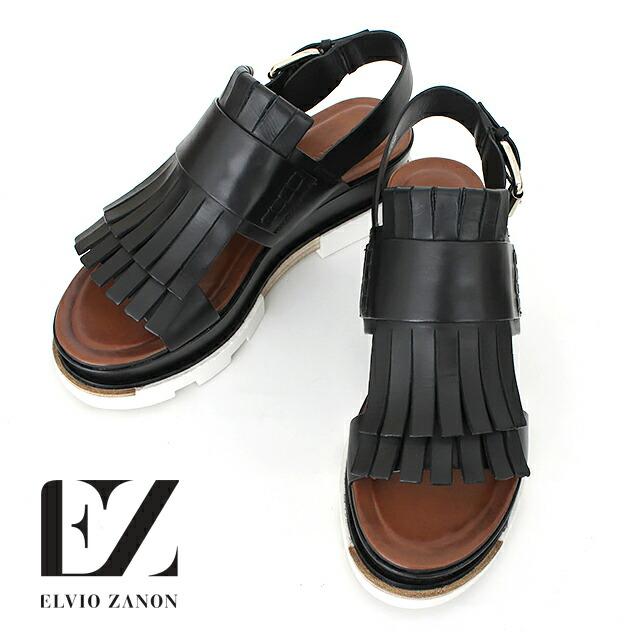 ELVIO ZANON 1301g 厚底サンダル ブラック