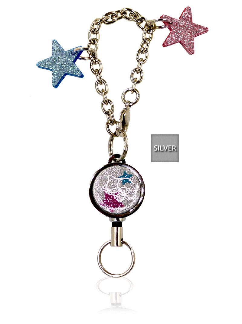 【メール便可】SANRIO.サンリオ.キキ&ララ.Little Twin Stars.Key Cover Strap/伸びる.ジュエル.リール.チャーム.本革.牛革.日本製.ハンドメイド
