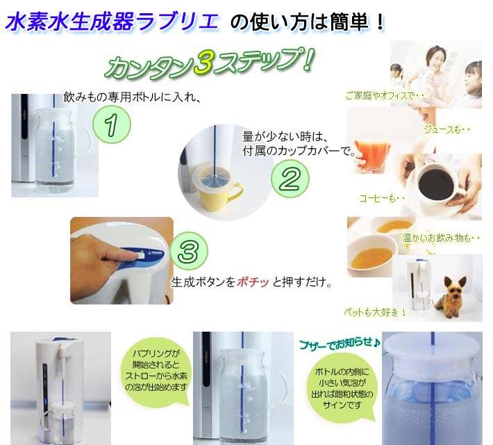 水素水生成器ラブリエ簡単3ステップ
