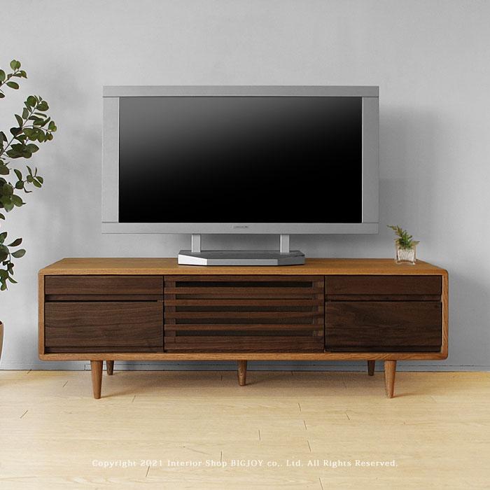 タモ無垢材とウォールナット無垢材を組み合わせた北欧テイストのテレビ台