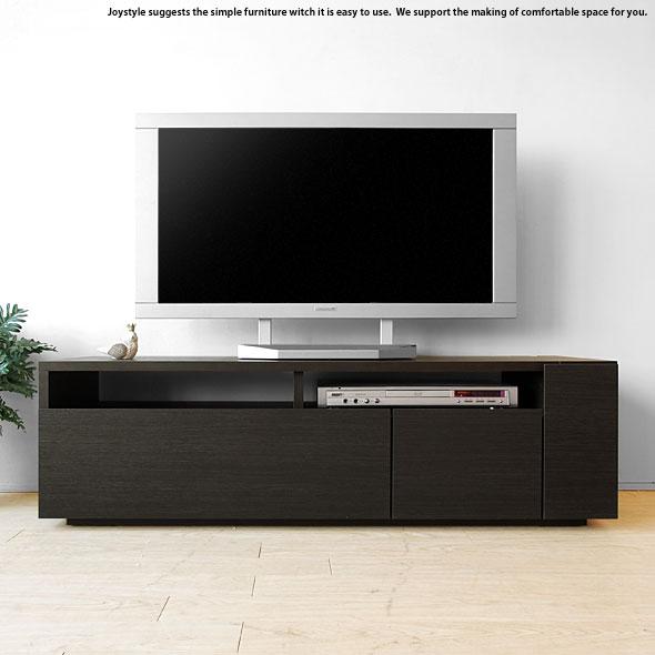 モダンリビングにぴったりなシンプルで収納力のあるダークブラウン色のテレビボード