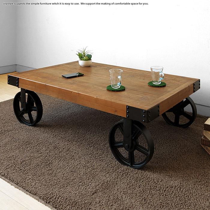 古材と大きな車輪の組み合わせがかっこいいアンティークテーブル