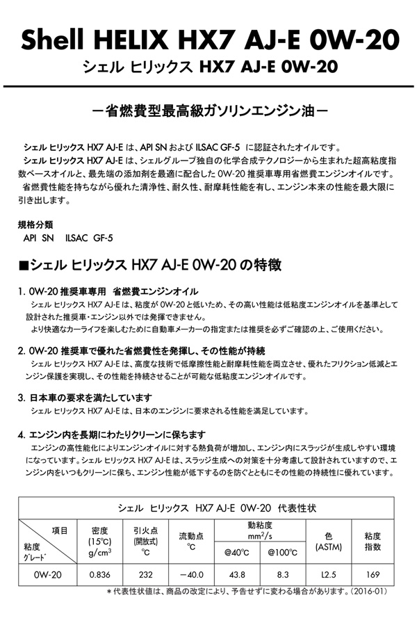 シェル ヒリックス HX7 AJ-E説明1