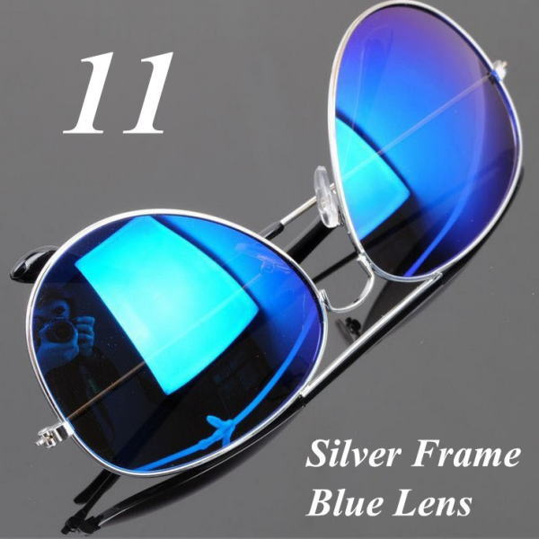 サングラス アビエイター デザイナーズ ファッションサングラス UV400 カラー:シルバーフレーム/ブルーレンズ アイウエアー メガネ 今だけ!送料無料 【在庫限品】即納です。