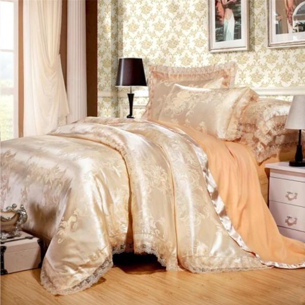 ゴールドシルクサテン ベッドカバー4点(シングル/3点)セット ユーロデザイン 豪華刺繍入りゴールドカラーシルク寝具セット