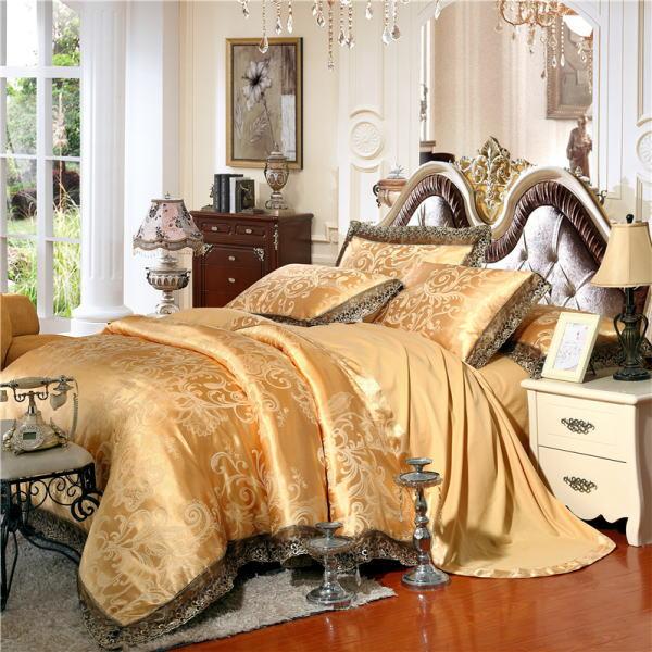シルク100% ベッドカバー4点セット ヨーロピアンスタイル 【輸入取寄せ品】豪華ゴールドカラーシルク寝具セット