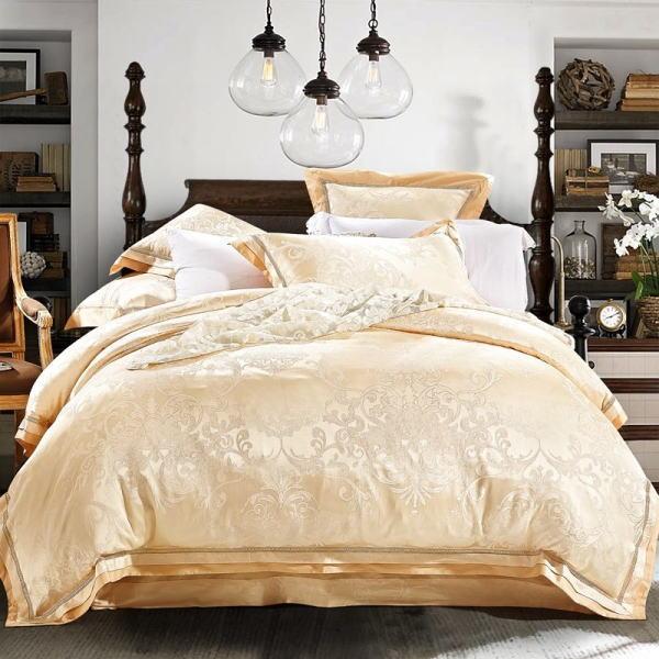 シルク調 コットンベッドカバー4点(シングル/3点)セット ユーロデザイン サテンジャガード豪華ゴールドカラー寝具セット