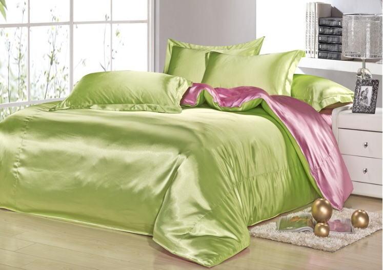 シルク調 ベッドカバー4(シングル/3)点セット ユーロデザイン 高級グリーン/ピンク ソリッドカラー