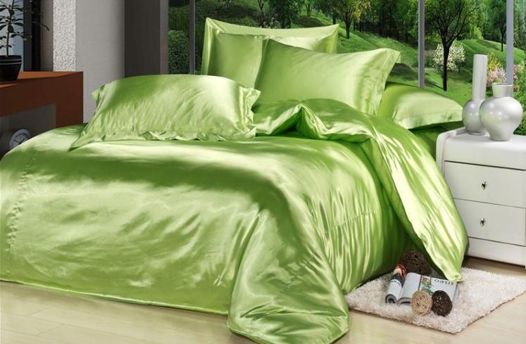 シルク調 ベッドカバー4(シングル/3)点セット ユーロデザイン 高級グリーンシルク ソリッドカラー