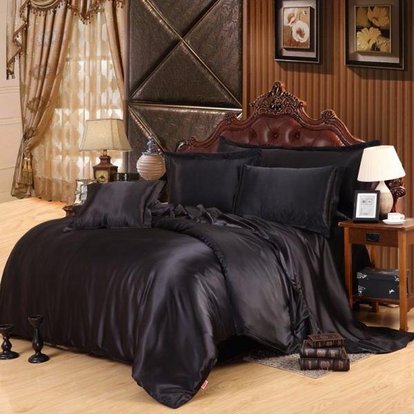 シルク調 ベッドカバー4(シングル/3)点セット ユーロデザイン 高級ブラックシルク ソリッドカラー