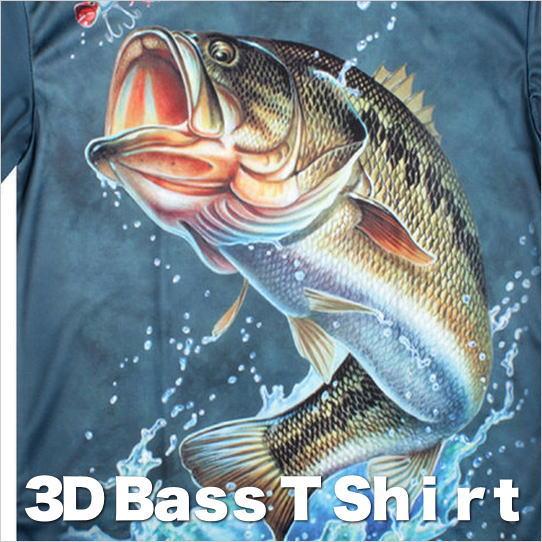 ブラックバスTシャツ バスTシャツ 魚Tシャツ ブラックバス 3DデザインTシャツ メンズTシャツ