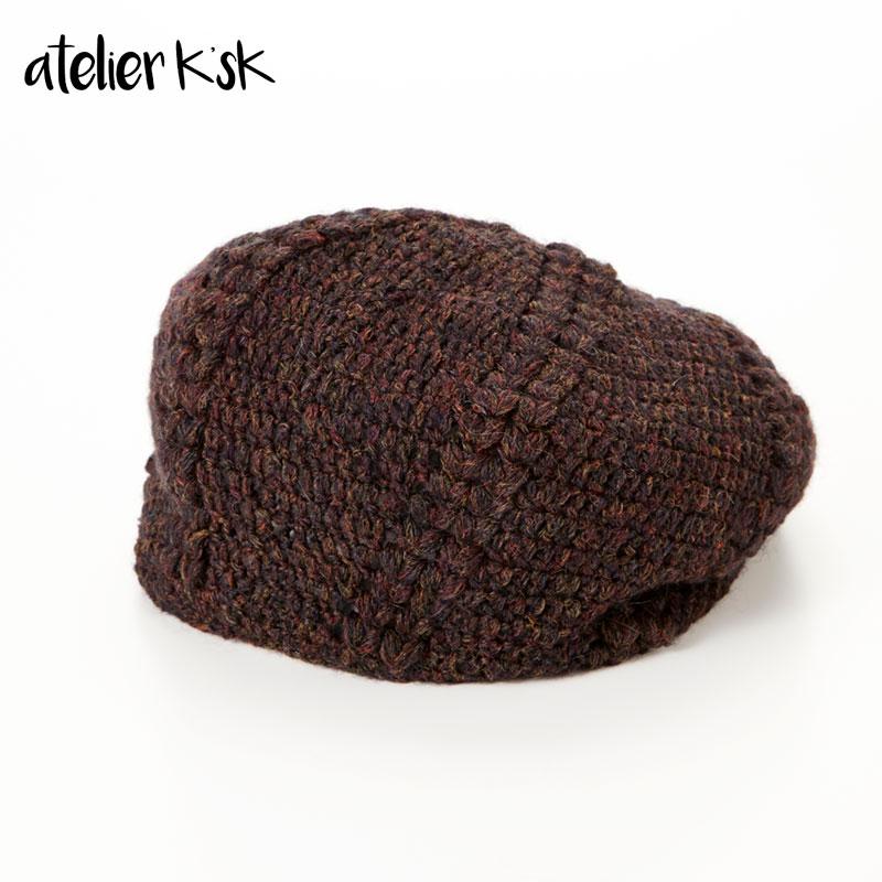 変形玉編みのベレー帽