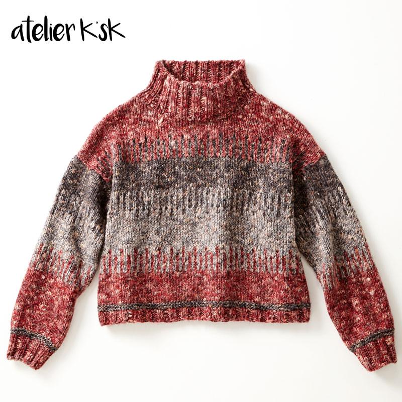 アトリエ K'sK 岡本啓子 棒針編み 手編みキット ニット 3色使いのプルオーバー
