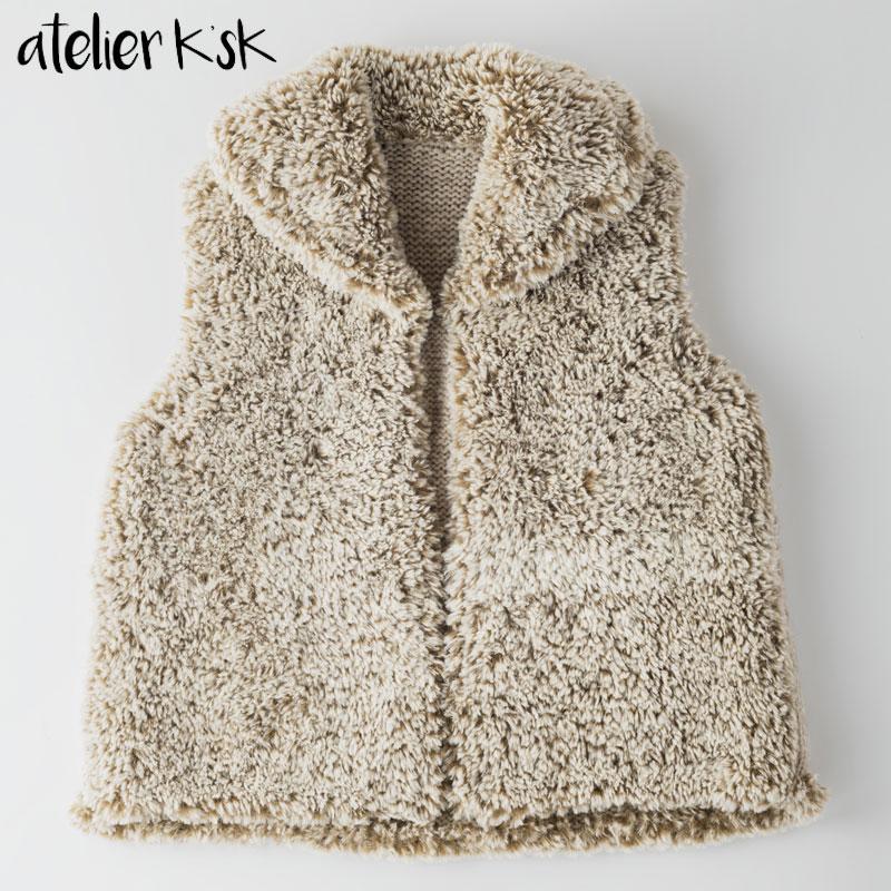 手編み 衿付きファーベスト