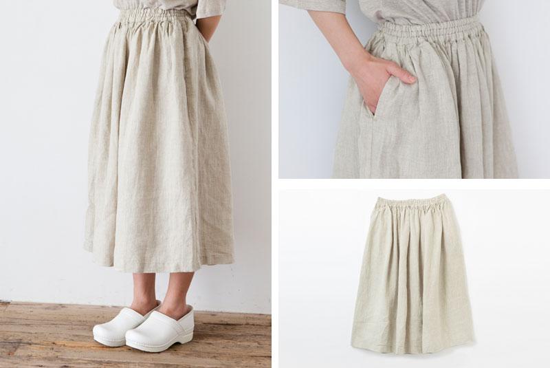 Carhaix キャレ リネン たっぷりギャザー スカート
