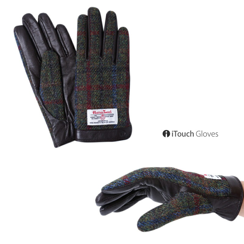 iTouch Gloves HARRIS TWEED ハリスツイード 本革 手袋