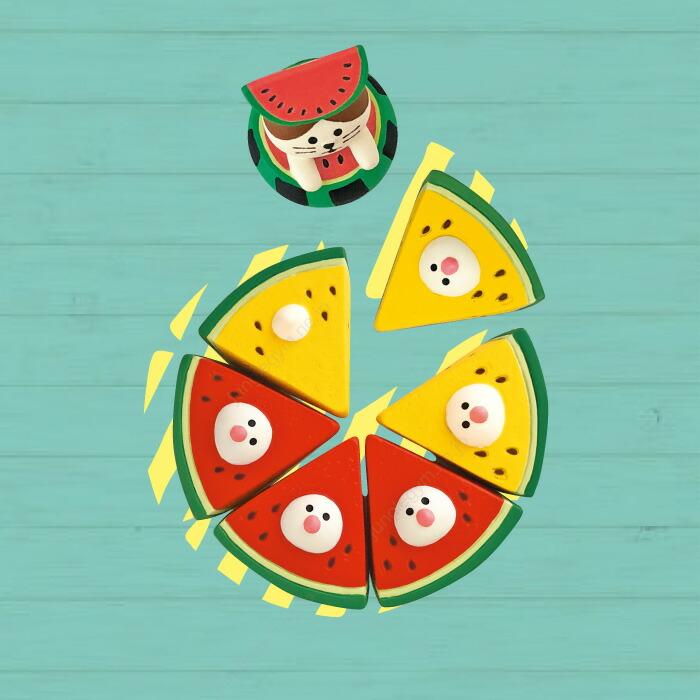 デコレ コンコンブル decole concombre イカス スイカ天国 赤と黄色のスイカ文鳥セット