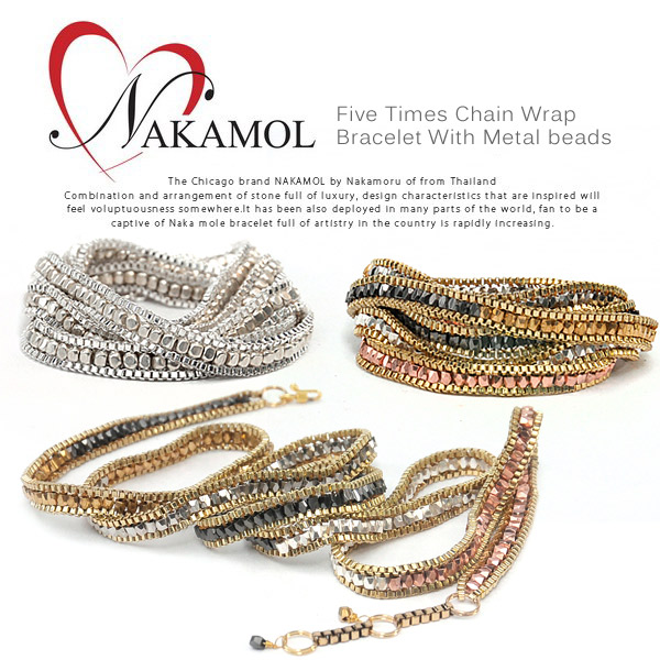 Five Times Chain Wrap Bracelet With Metal Beads