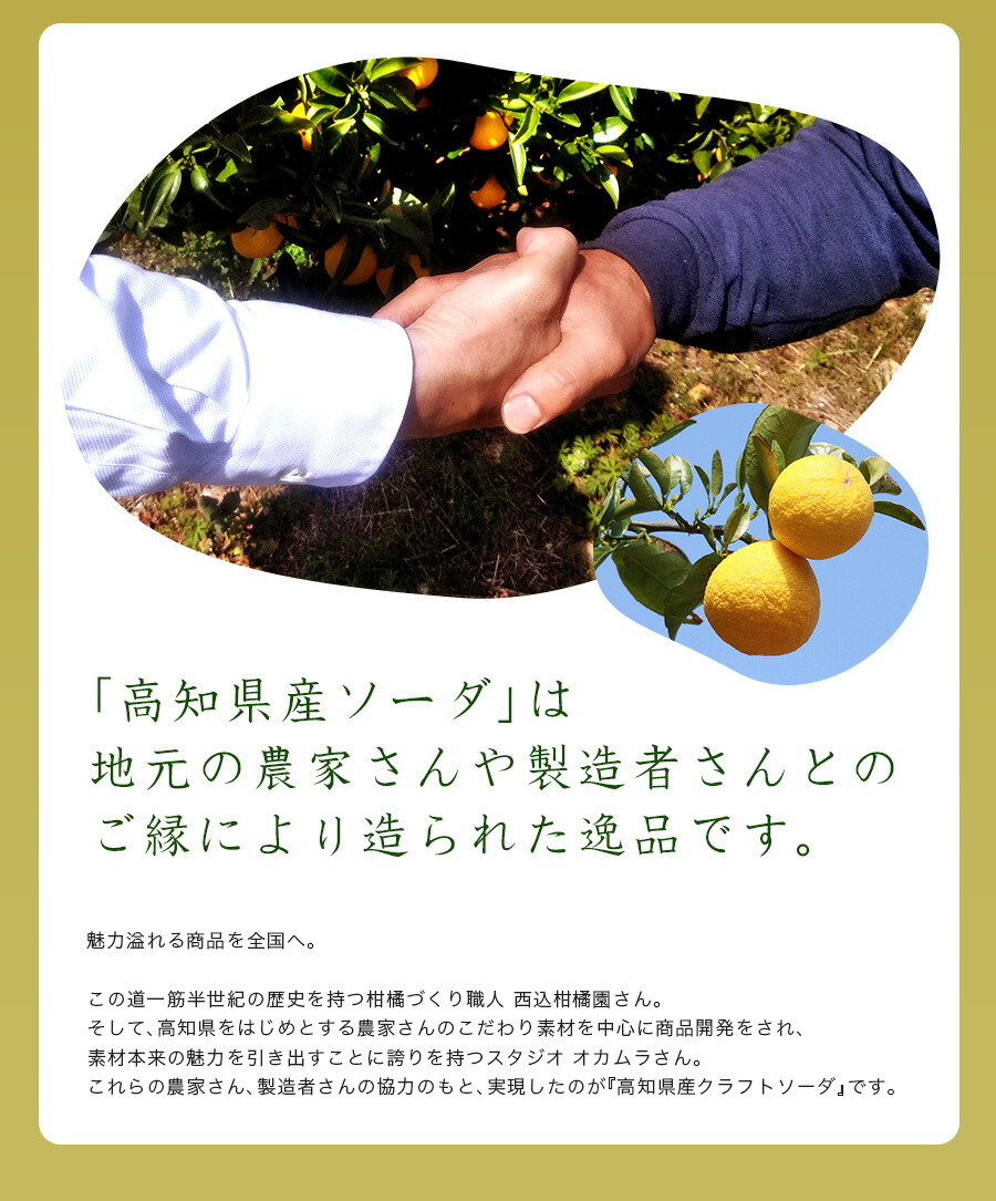 高知県産ソーダは地元の農家さんや製造者さんとのご縁により造られた逸品です。