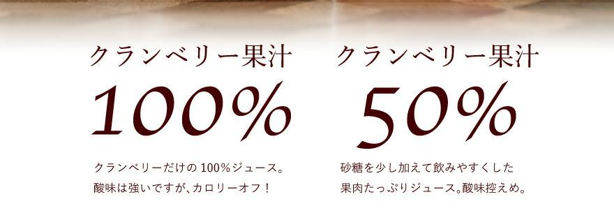 クランベリー果汁100%・50%の違い