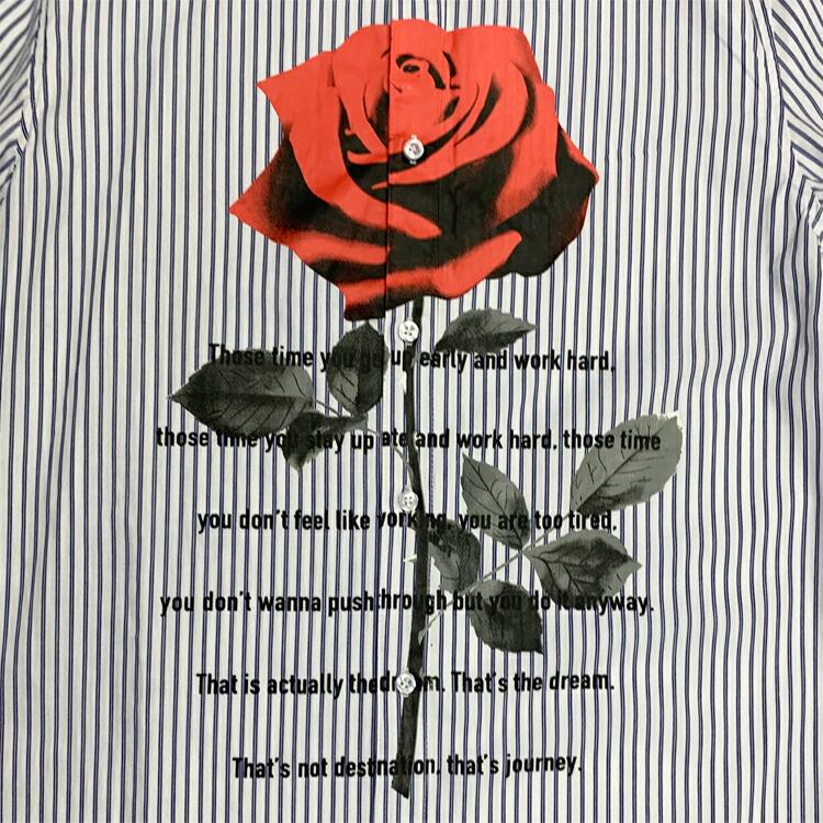 JURY BLACK ジュリーブラック シャツ フロントローズプリントシャツ