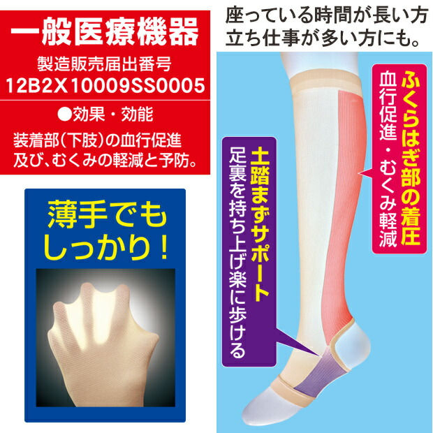 一般医療用サポーター ふくらはぎ サポーター 着圧 むくみ 下肢静脈瘤 リンパの流れ 血行促進
