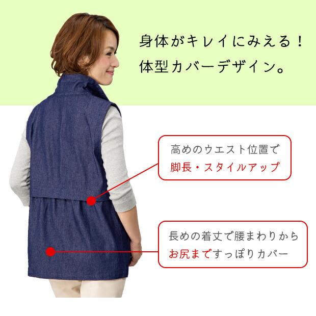 敬老の日ギフト おばあちゃん プレゼント 贈り物 岡山デニム 日本製 国産 ベスト レディースファッション シニア