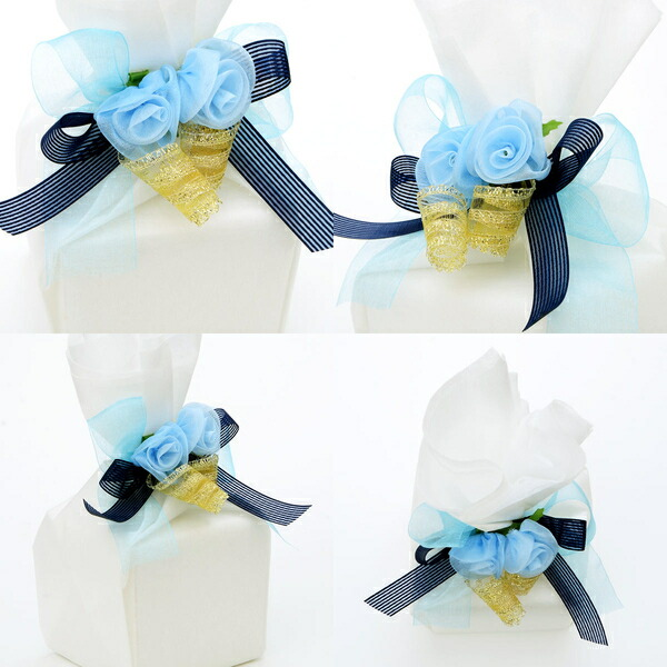 The Lapping That Blue Ribbon Is Refreshing To A Pure White Nonwoven Fabric Flower Creates Eloquence More It Recommended In Present Man