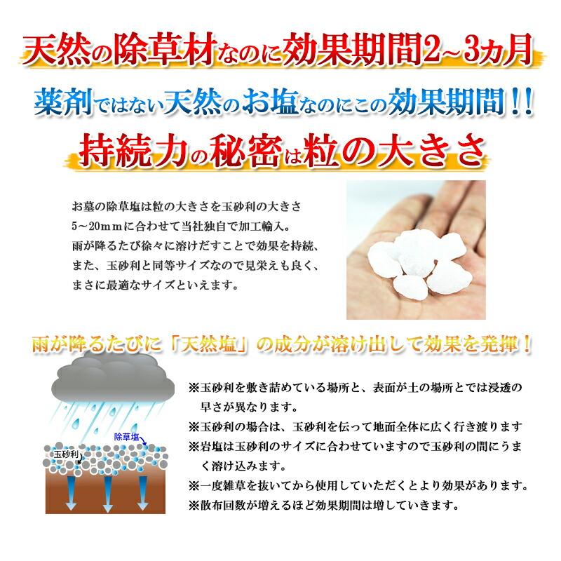 使い方はとっても簡単。手袋もマスクもいりません。雨が降るたびに、天然塩の成分がゆっくり溶け出して徐々に効果を発揮します。