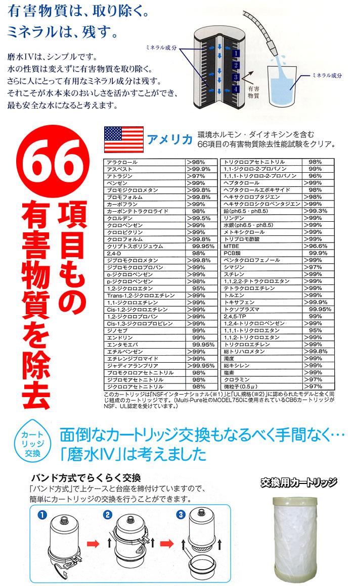 66項目もの有害物質を除去、ミネラルは残します