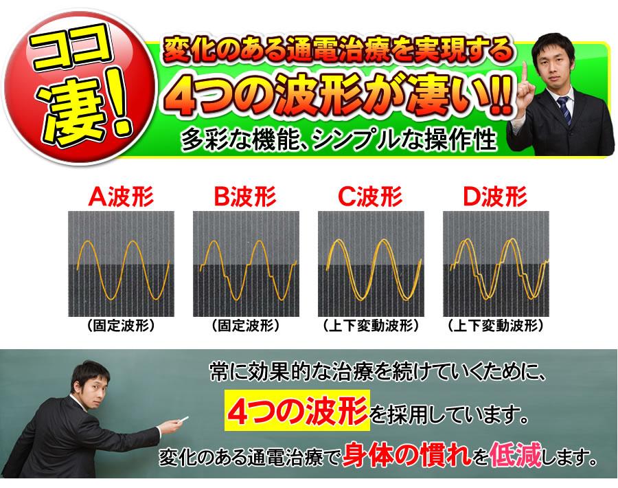 変化のある通電治療を実現する4つの波形